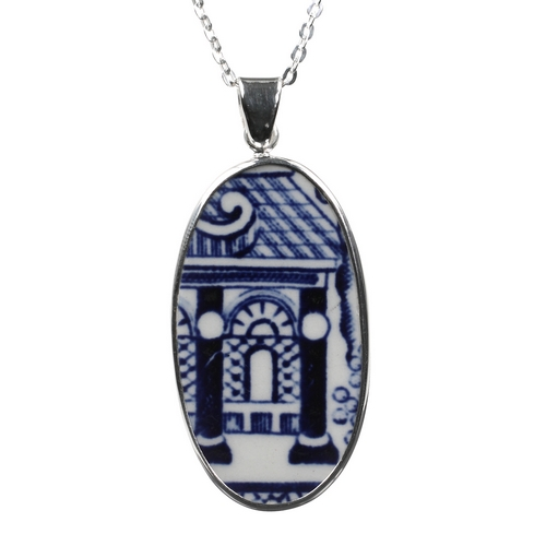 Enter the Temple Sterling Silver Porcelain Pendant