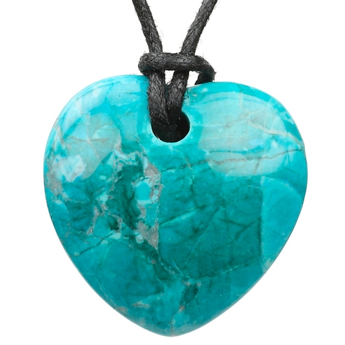 Polished Chrysocolla Howlite Heart Necklace