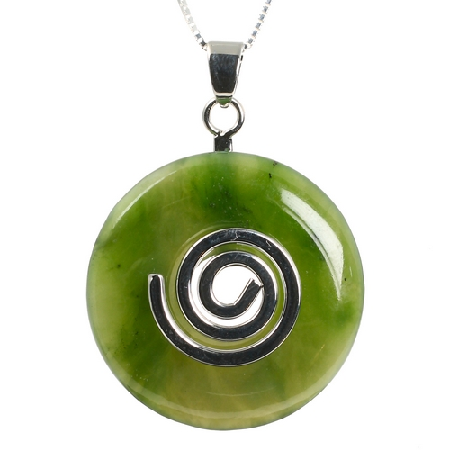 Jade Nephrite Authentic Green Stone Donut Agago Necklace Pendant Sterling Silver Chain Healing Crystal