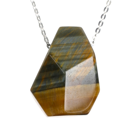 Tigers Eye Facetted Crystal Pendant and Sterling Silver Chain