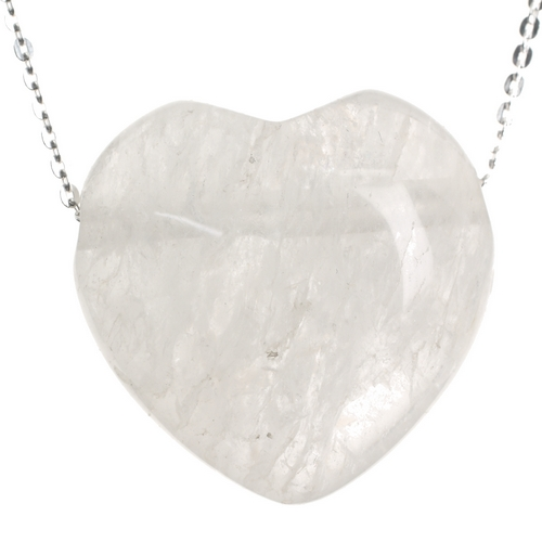 Quartz Crystal Stone Heart Pendant and Sterling Silver Chain