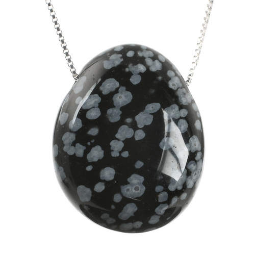 Snowflake Obsidian Crystal Stone Necklace and Sterling Silver Chain