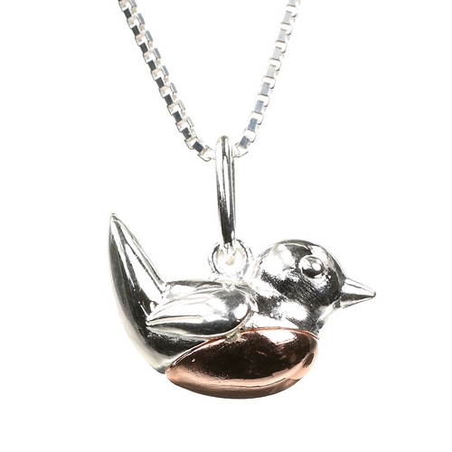 Red Breast Robin Vintage Style Bird Sterling Silver Charm Necklace Pendant with 18 inch Silver Chain