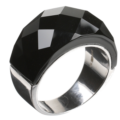 Black Glass Dome Sterling Silver Ring