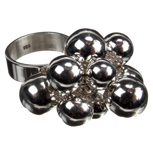 Great Balls of Silver Charm Ring